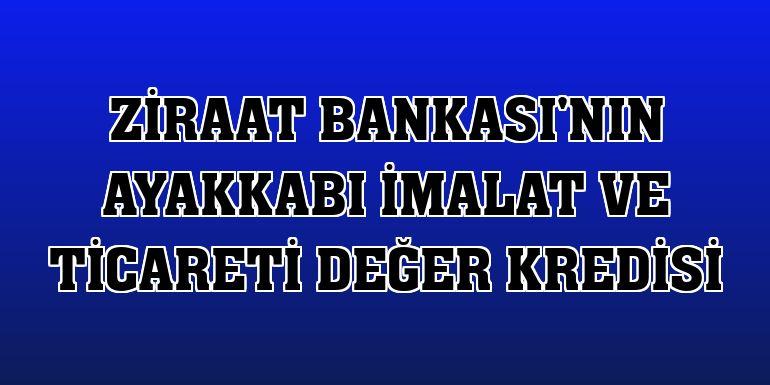 Ziraat Bankası'nın Ayakkabı İmalat ve Ticareti Değer Kredisi