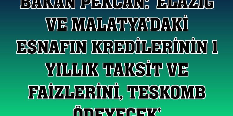 Bakan Pekcan: 'Elazığ ve Malatya'daki esnafın kredilerinin 1 yıllık taksit ve faizlerini, TESKOMB ödeyecek'