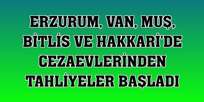 Erzurum, Van, Muş, Bitlis ve Hakkari'de cezaevlerinden tahliyeler başladı