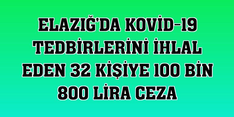 Elazığ'da Kovid-19 tedbirlerini ihlal eden 32 kişiye 100 bin 800 lira ceza