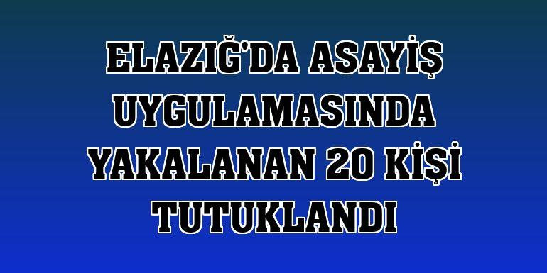 Elazığ'da asayiş uygulamasında yakalanan 20 kişi tutuklandı
