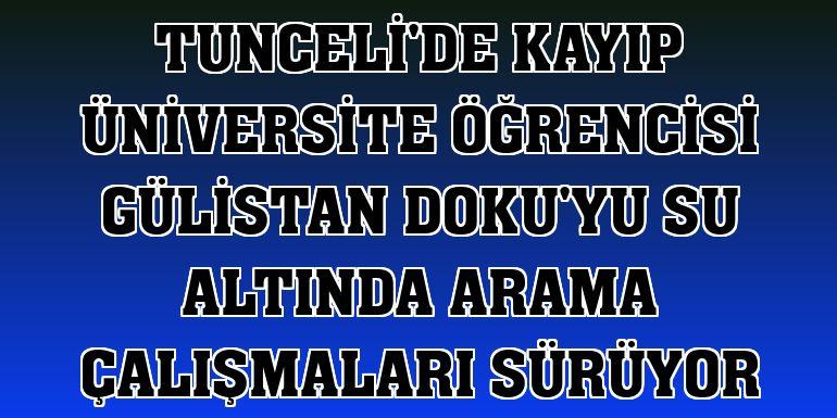 Tunceli'de kayıp üniversite öğrencisi Gülistan Doku'yu su altında arama çalışmaları sürüyor