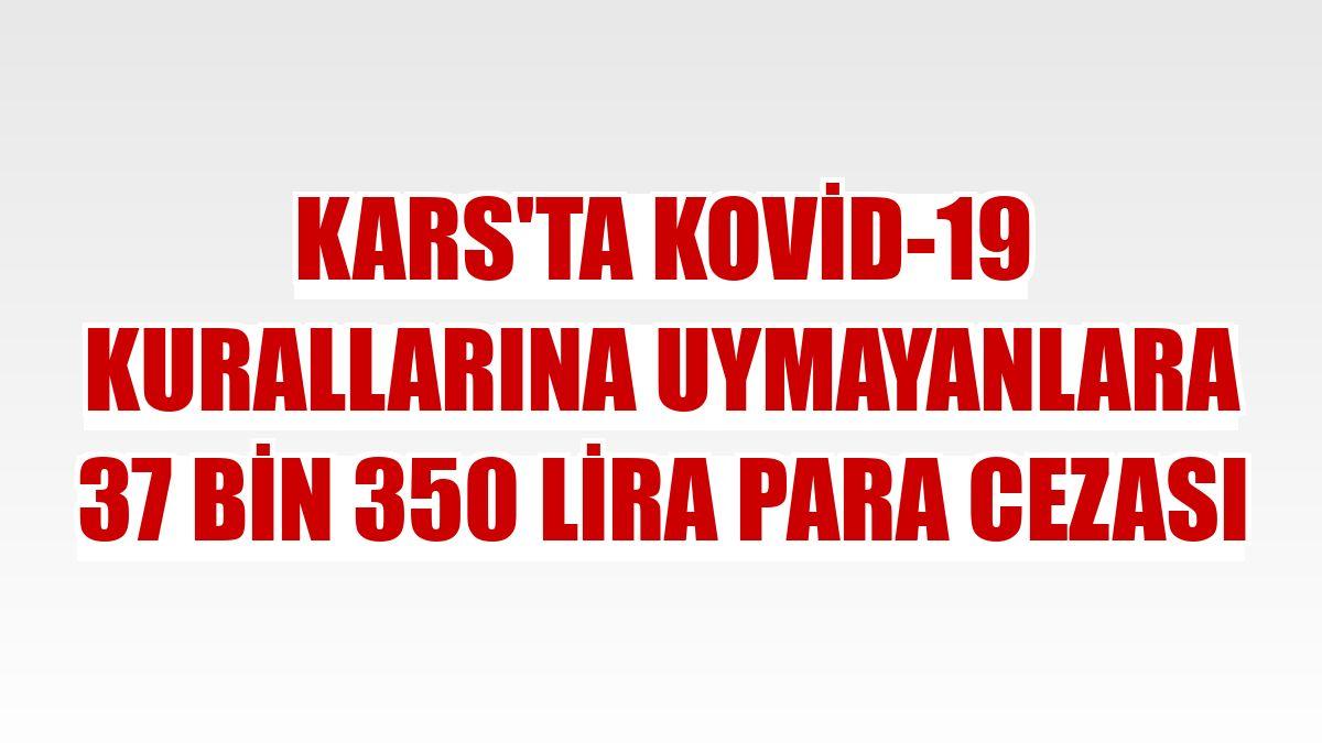 Kars'ta Kovid-19 kurallarına uymayanlara 37 bin 350 lira para cezası