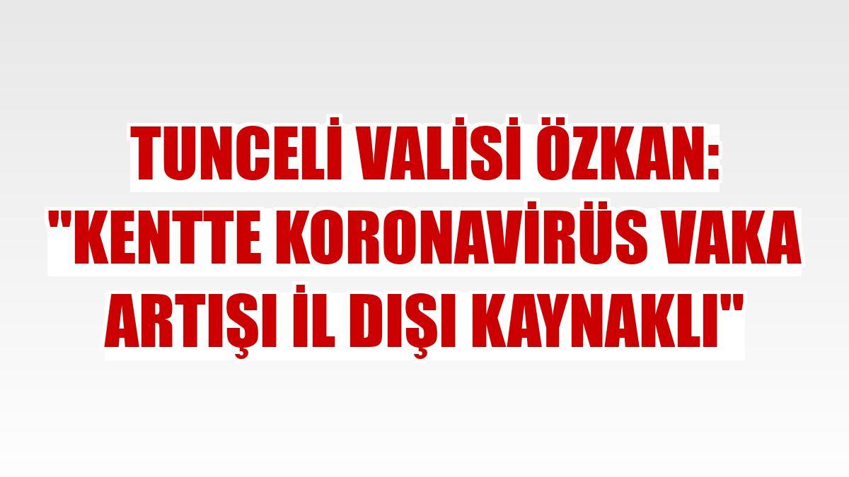 "Tunceli Valisi Özkan: ""Kentte koronavirüs vaka artışı il dışı kaynaklı"""