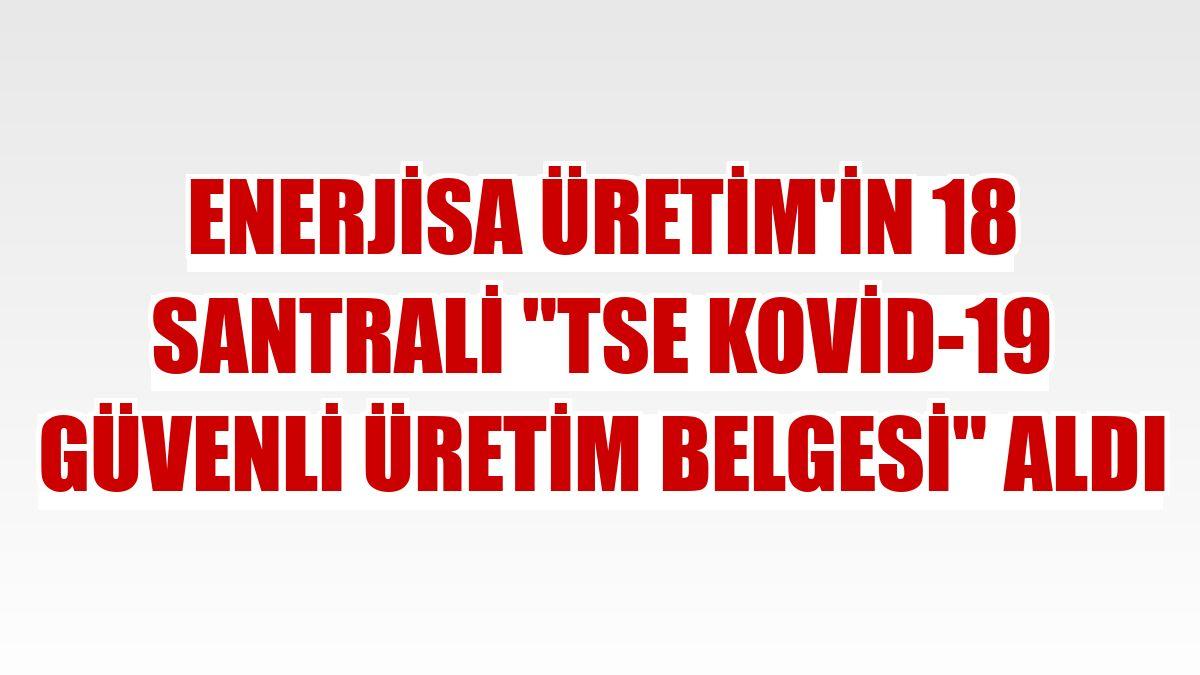 """Enerjisa Üretim'in 18 santrali """"TSE Kovid-19 Güvenli Üretim Belgesi"""" aldı"""
