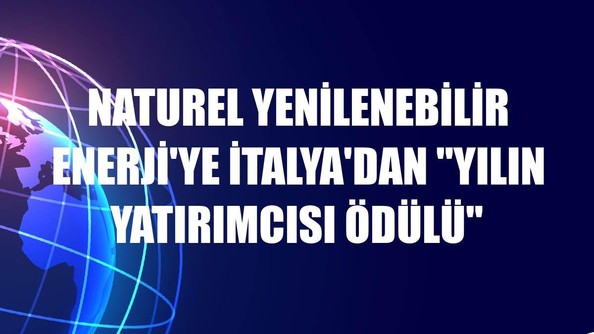 Naturel Yenilenebilir Enerji'ye İtalya'dan 'Yılın Yatırımcısı Ödülü'