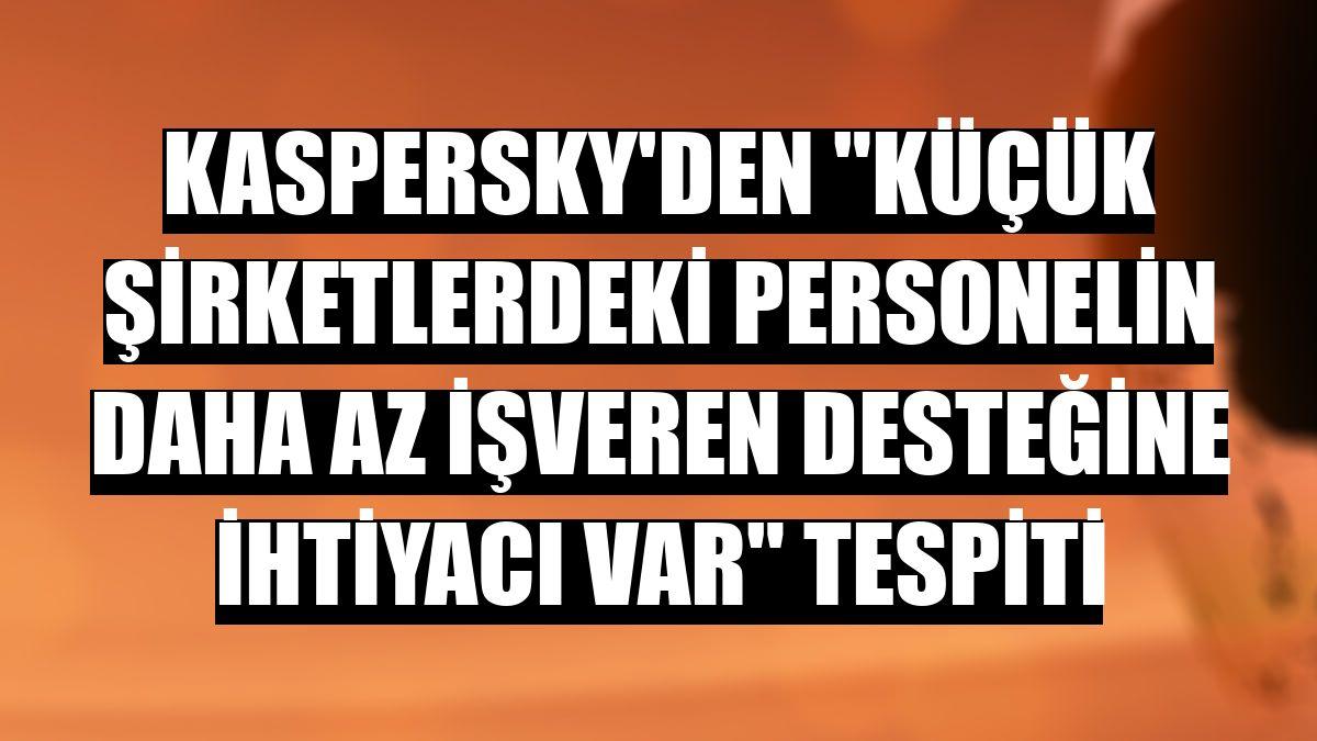 """Kaspersky'den """"küçük şirketlerdeki personelin daha az işveren desteğine ihtiyacı var"""" tespiti"""