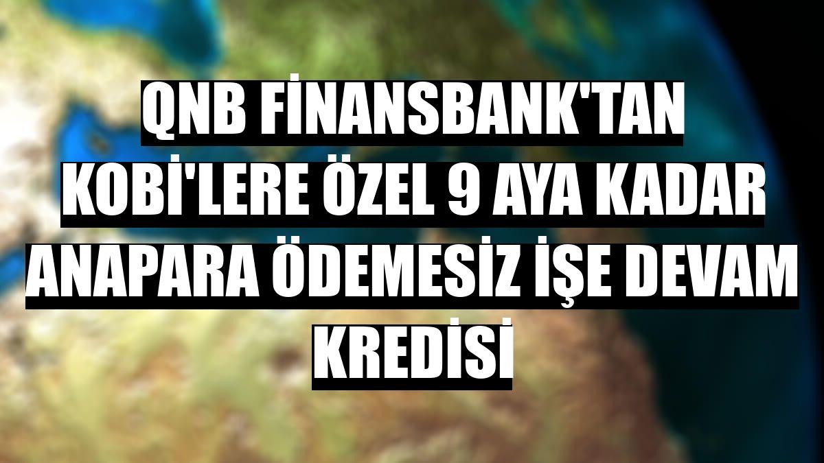 QNB Finansbank'tan KOBİ'lere özel 9 aya kadar anapara ödemesiz İşe Devam Kredisi