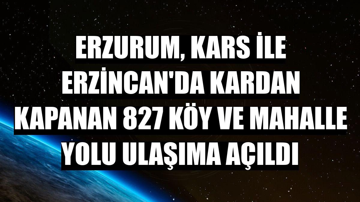 Erzurum, Kars ile Erzincan'da kardan kapanan 827 köy ve mahalle yolu ulaşıma açıldı