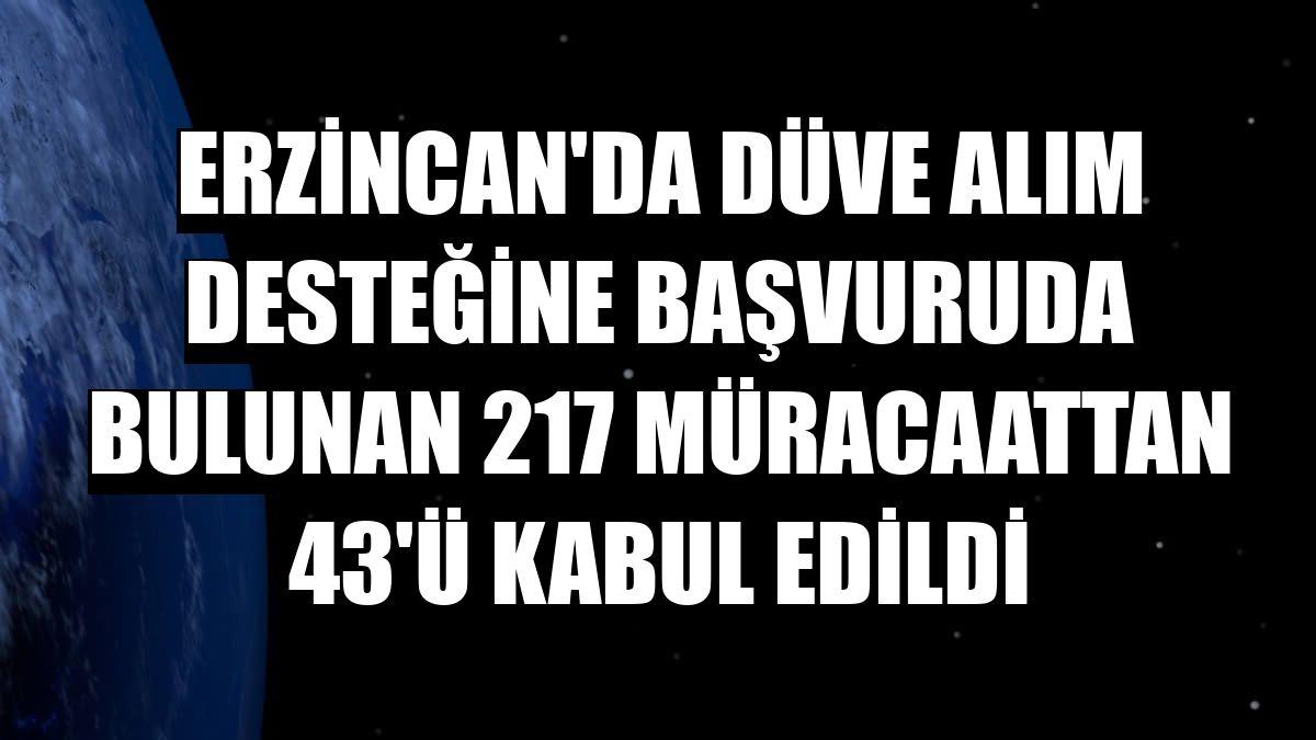 Erzincan'da düve alım desteğine başvuruda bulunan 217 müracaattan 43'ü kabul edildi