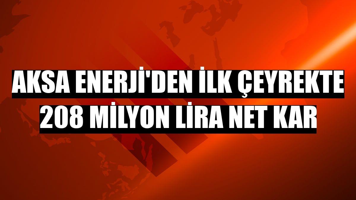 Aksa Enerji'den ilk çeyrekte 208 milyon lira net kar