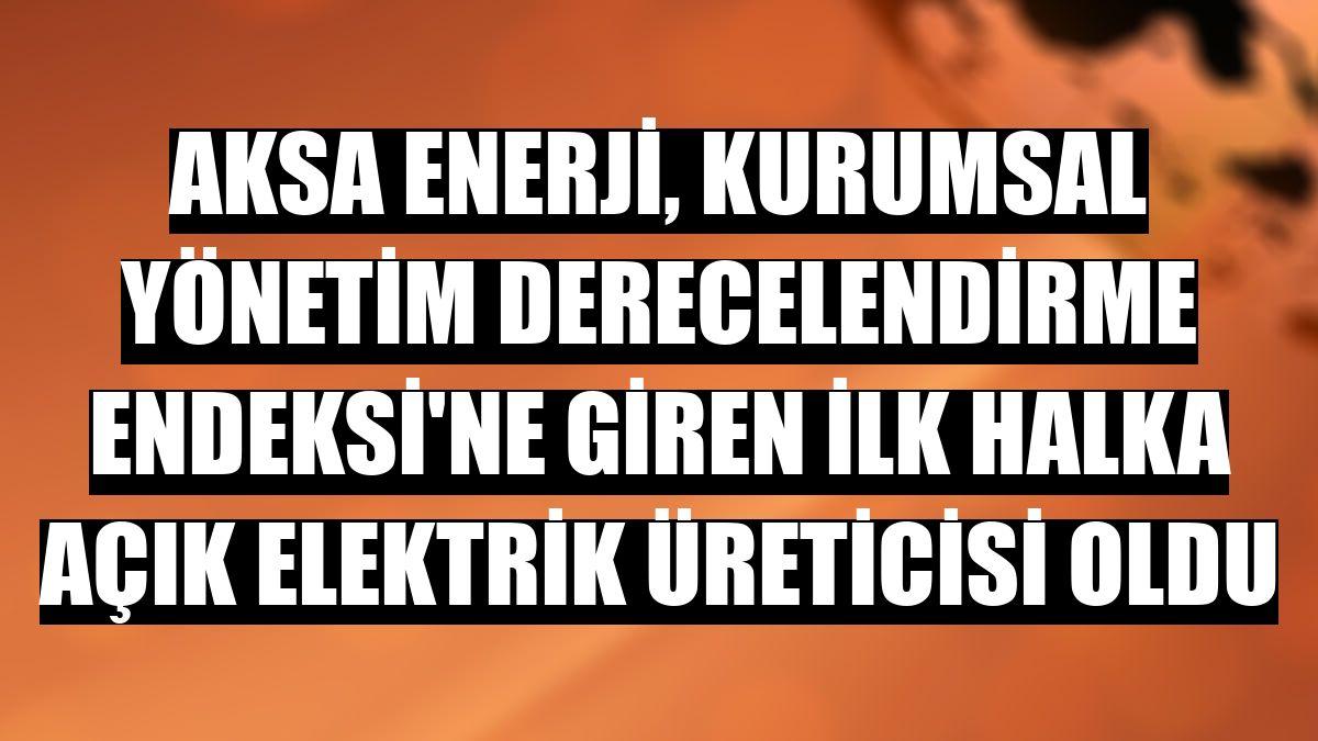 Aksa Enerji, Kurumsal Yönetim Derecelendirme Endeksi'ne giren ilk halka açık elektrik üreticisi oldu