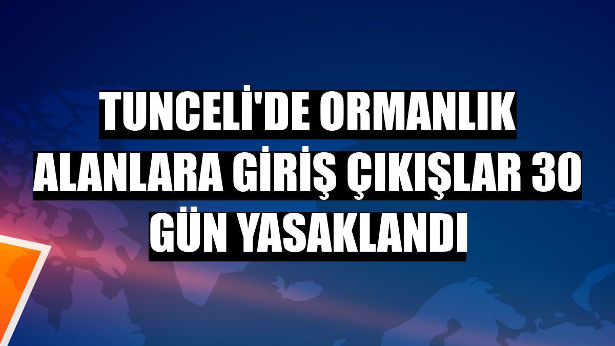 Tunceli'de ormanlık alanlara giriş çıkışlar 30 gün yasaklandı