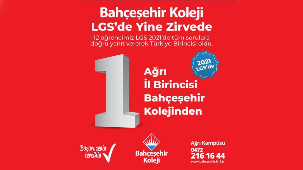 2021 LGS'de Ağrı İl Birincisi Bahçeşehir Kolejinden