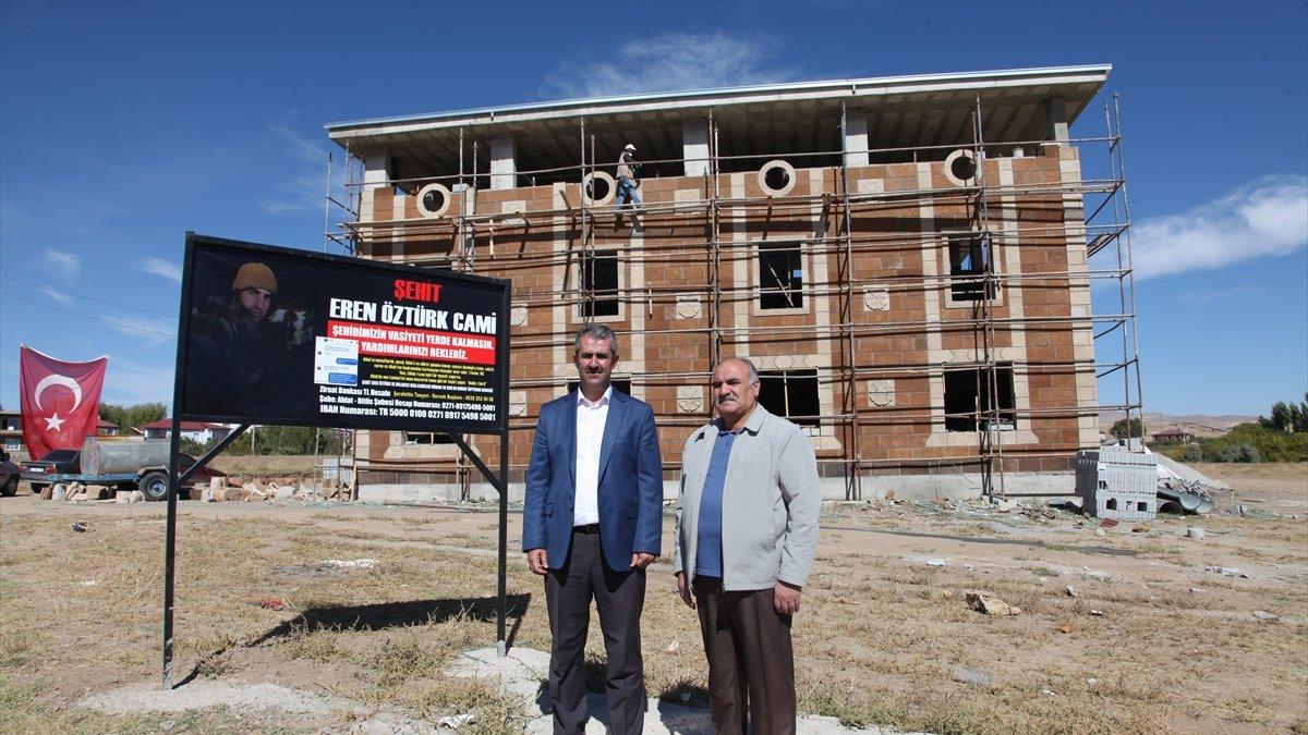 Bitlis'te şehit askerin vasiyeti olan caminin inşaat çalışmaları sürüyor