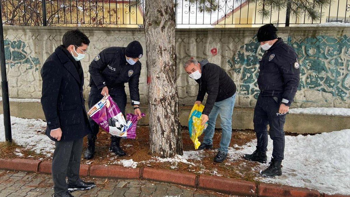 Malatya'da polislerden sokak hayvanlarına mama desteği