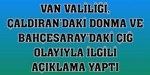 Van Valiliği, Çaldıran'daki donma ve Bahçesaray'daki çığ olayıyla ilgili açıklama yaptı