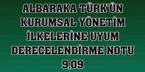 Albaraka Türk'ün kurumsal yönetim ilkelerine uyum derecelendirme notu 9,09