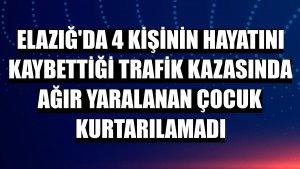 Elazığ'da 4 kişinin hayatını kaybettiği trafik kazasında ağır yaralanan çocuk kurtarılamadı