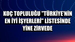 Koç Topluluğu 'Türkiye'nin En İyi İşyerleri' listesinde yine zirvede
