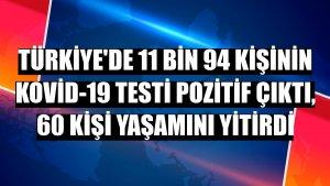 Türkiye'de 11 bin 94 kişinin Kovid-19 testi pozitif çıktı, 60 kişi yaşamını yitirdi
