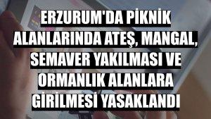Erzurum'da piknik alanlarında ateş, mangal, semaver yakılması ve ormanlık alanlara girilmesi yasaklandı