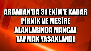 Ardahan'da 31 Ekim'e kadar piknik ve mesire alanlarında mangal yapmak yasaklandı