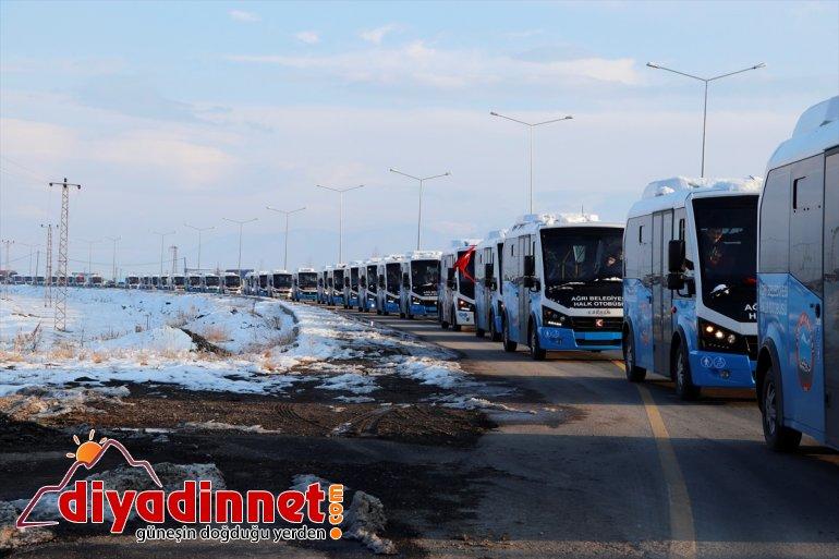 Ağrı'da 66 araç konvoy turuyla hizmete başladı