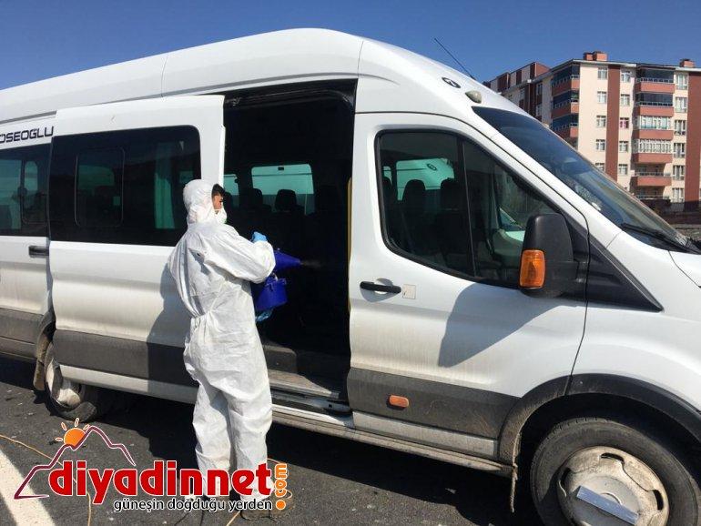 Ağrı'da Tekstilkent servis araçları dezenfekte edildi