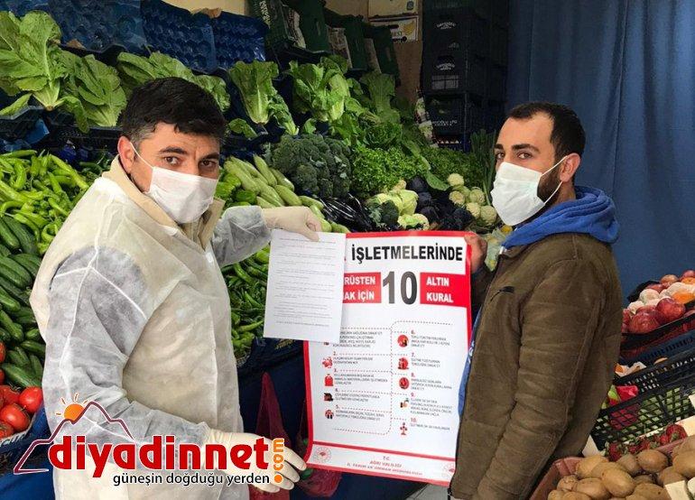 Eleşkirt te Koronavirüse karşı gıda işletmelerine Altın Kural broşürü2