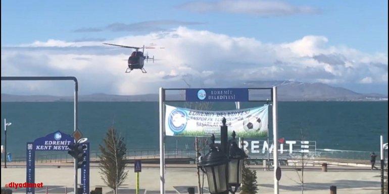 """Van Gölü sahillerine helikopterle """"koronavirüs denetimi"""""""