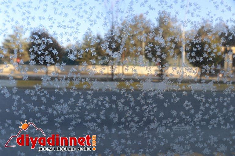 Ağrı da soğuk hava araçların camlarını dondurdu2
