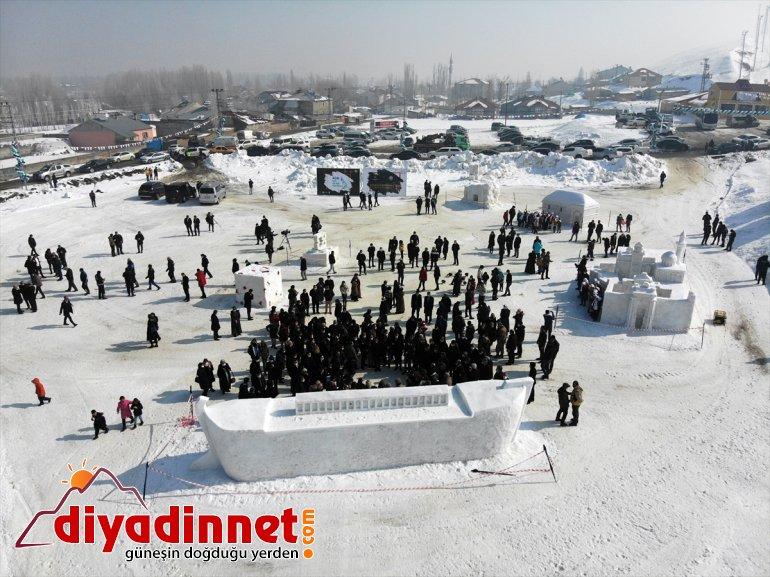 kardan ilgi Buz Ağrı'daki '1. Festivali'nde heykeller gördü Kar kayakçıların ve gösterisi milli ile 5