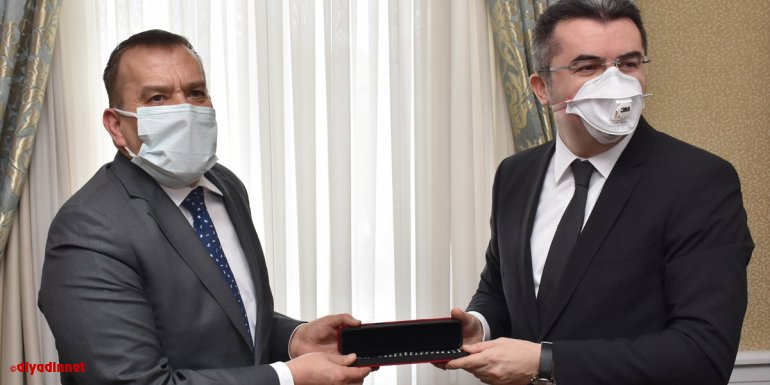 Slovenya Büyükelçisi Primoz Seligo, Erzurum Valisi Okay Memiş'i ziyaret etti