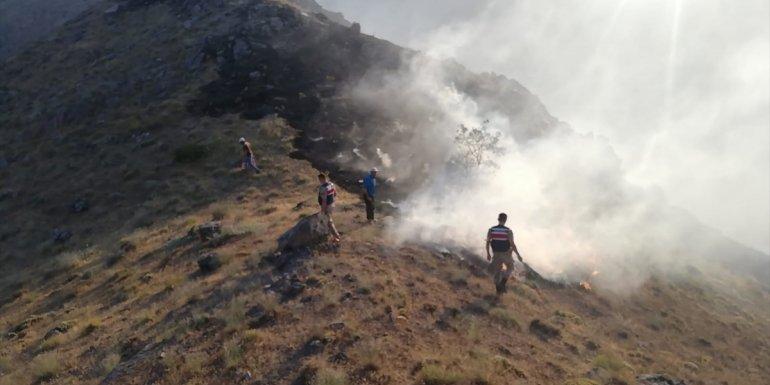 Elazığ'da 30 dönümlük alanda etkili olan örtü yangınına müdahale ediliyor