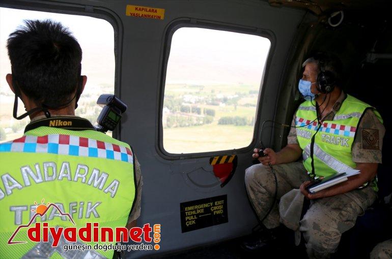 Erzurum-Artvin bayram Jandarma denetledi helikopterle yolundaki trafiğini kara 2