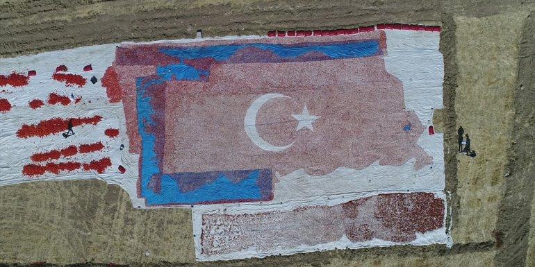 Elazığ'da mevsimlik işçiler kurutmalık domateslerle ay yıldızlı Türkiye haritası yaptı
