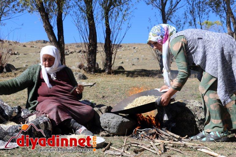 güneşte kadınlar kavurdukları kurutup Ağrılı ateşte erişteleri kışa hazırlıyor 9